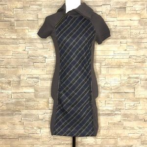 Dresses & Skirts - Grey knit dress with plaid front panel